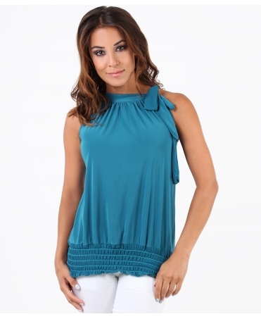 Tie Up Halterneck Elastic Hem Top