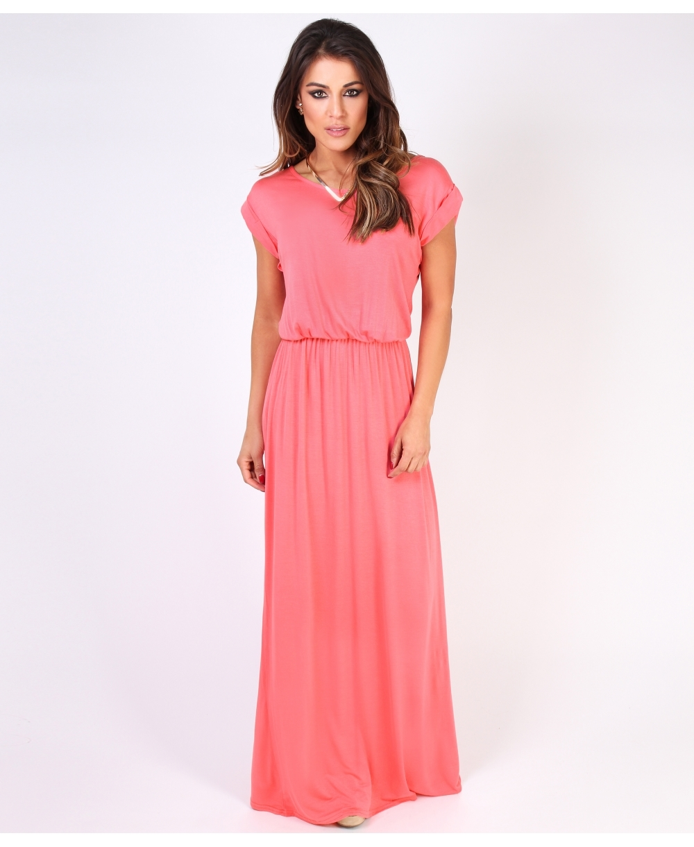21c016ef90f Turn Up Sleeve Jersey Maxi Dress