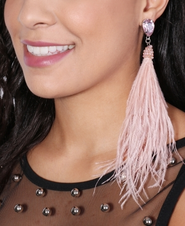 Bead & Feather Tassel Earrings