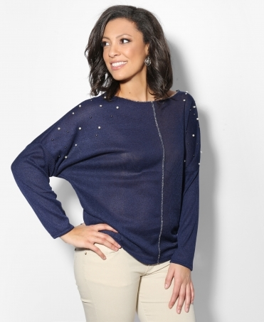 Beaded Thin Knitted Jumper