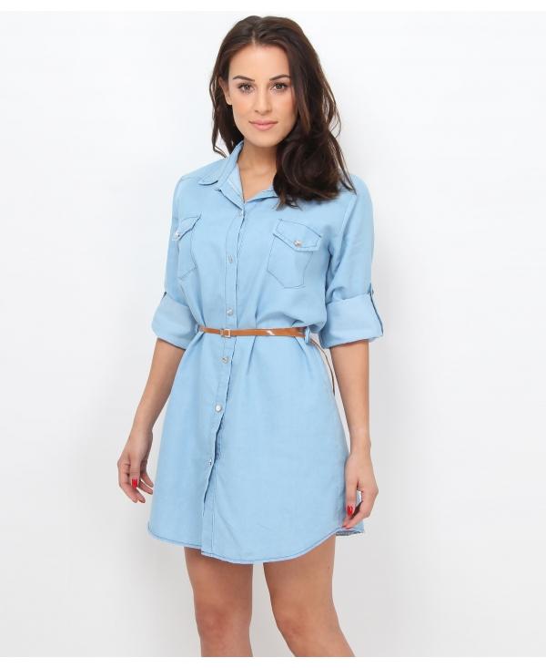 Krisp Belted Denim Shirt Dress Womens From Krisp Clothing Uk
