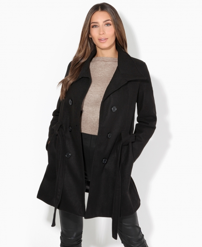 KRISP Belted Double Breasted Winter Coat