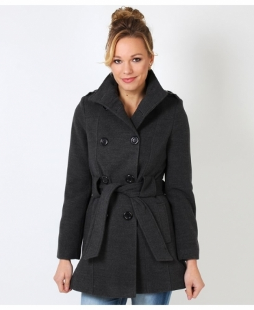 Belted Double Breasted Woollen Coat
