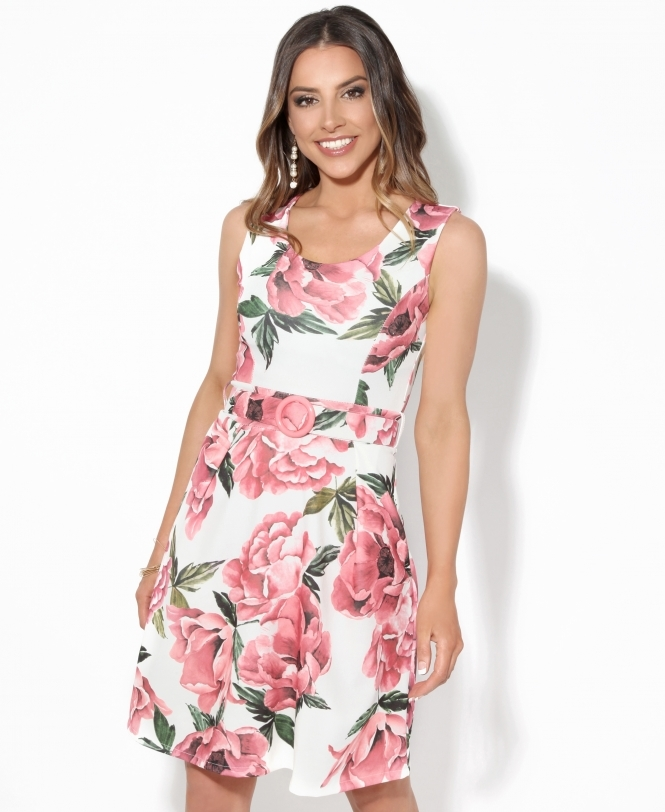 KRISP Belted Floral Occasion Midi Dress