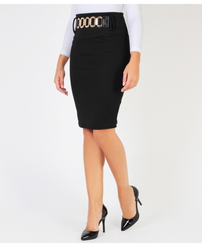 KRISP Belted Knee Length Pencil Skirt