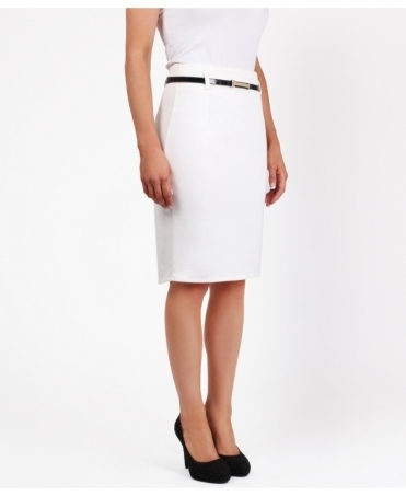 Belted Ponte Midi Pencil Skirt