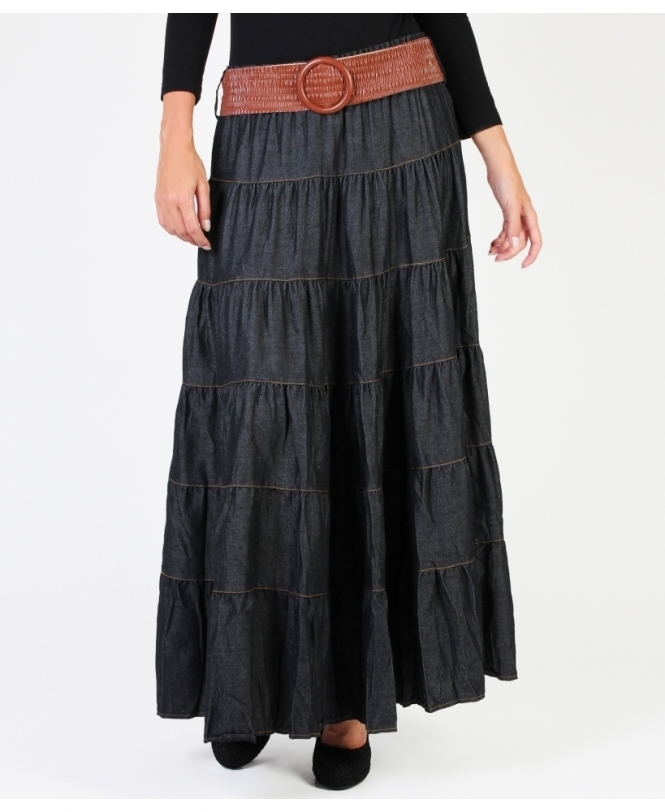 KRISP Belted Tiered Denim Maxi Skirt