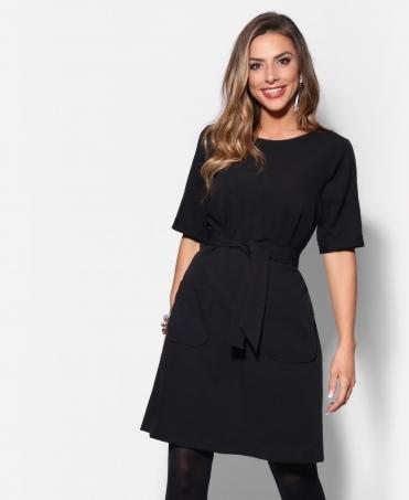 Belted Two Pocket Shift Dress 045928993