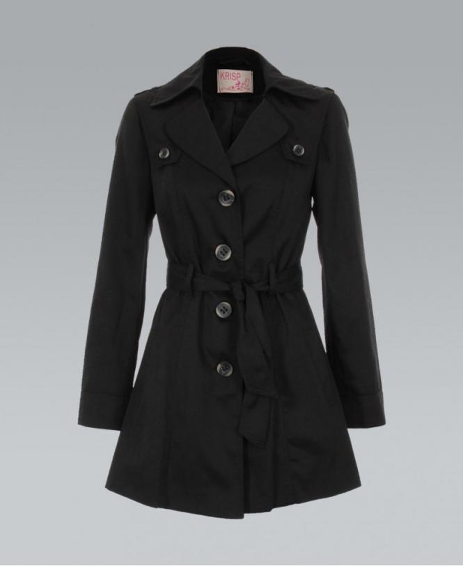 good service cheaper sale 2020 KRISP Black Belted Button Down Tailored Mac Coat