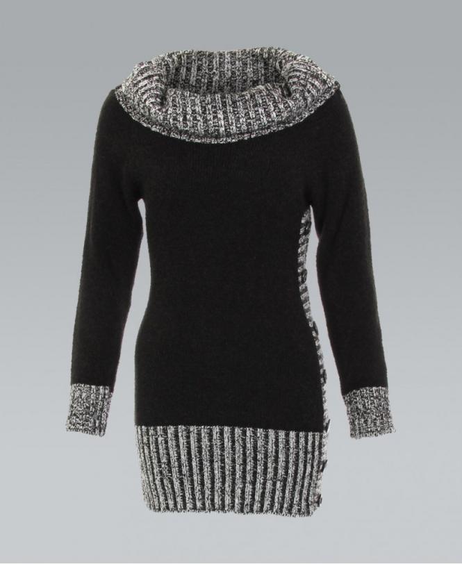 9248ae70af3919 KRISP Black Cowl Neck Ribbed Knit Jumper - Womens from Krisp Clothing UK
