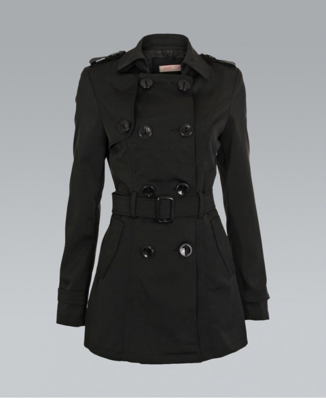 free delivery special sales watch KRISP Black Double Breasted Self Belted Mac Coat