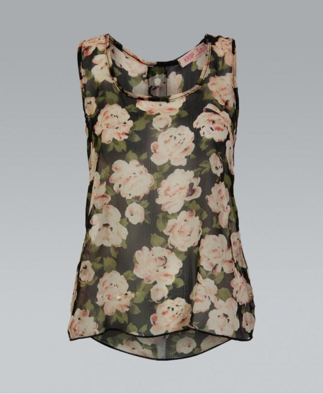 8c1f710651f KRISP Black Floral Chiffon Sleeveless Top