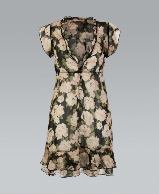 9d291e5ffc KRISP Black Floral Print Chiffon Frill Dress