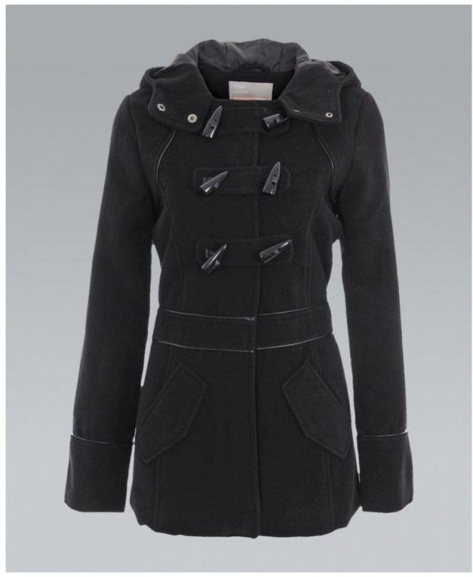 KRISP Black Hooded Woollen Piping Duffle Coat - WOMENS from Krisp ...