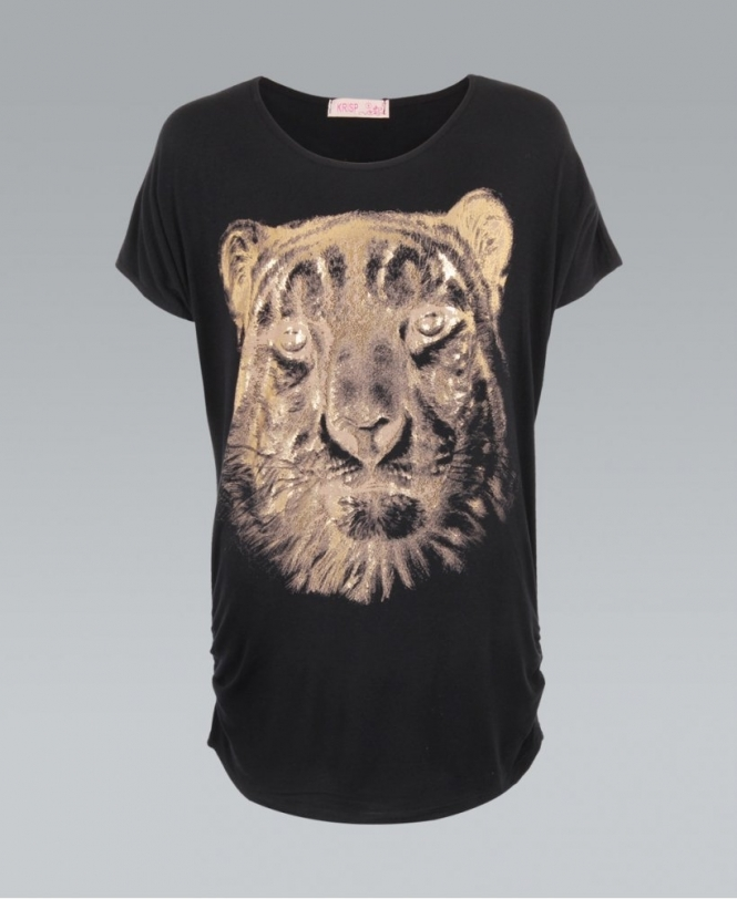 958ea24f7 KRISP Black Oversized Gold Foil Tiger Print Top T-shirt - Womens ...