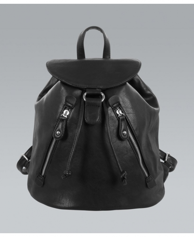 KRISP Black PU Drawstring Backpack