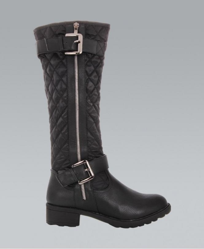 KRISP Black Quilted Knee High Boots