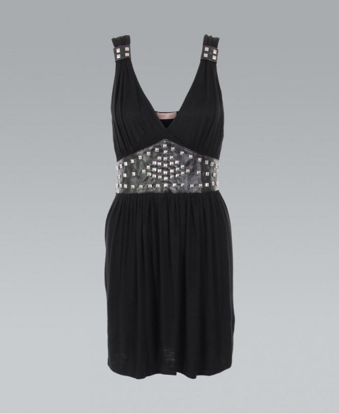 Krisp Black Studded Waist Grecian Wrap Dress