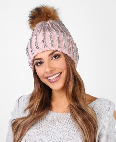 Bling Chunky Knit Beanie Hat
