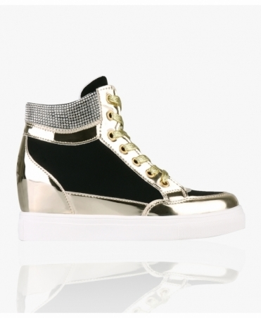 Bling Contrast Wedge Trainers