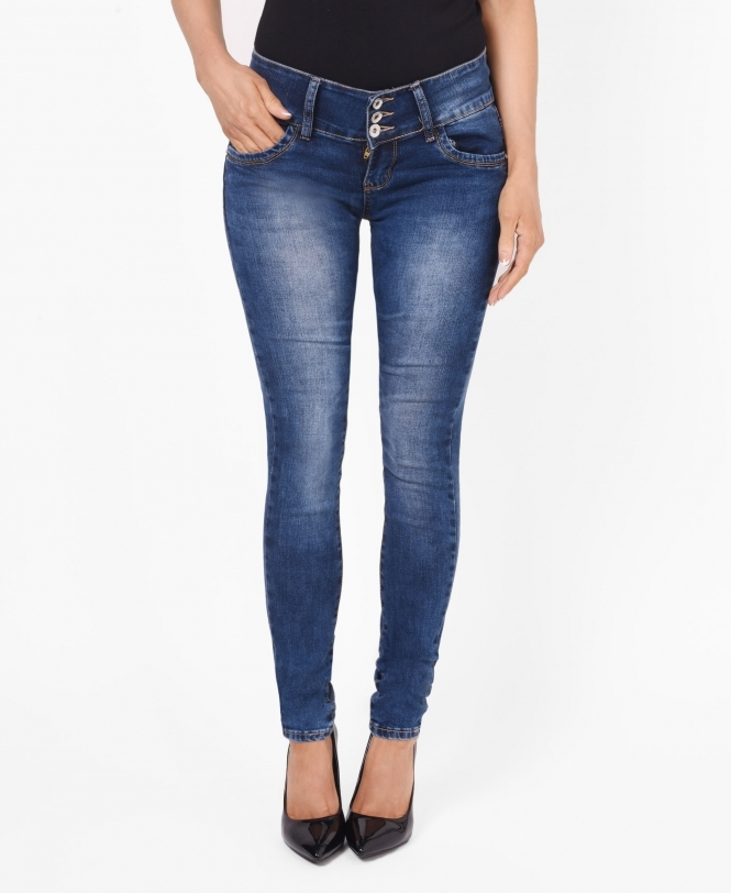 KRISP Bow Back 3 Button Skinny Jeans