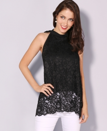 Bow Back Lace Swing Top