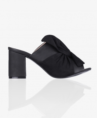 Bow Front Block Heel Mules