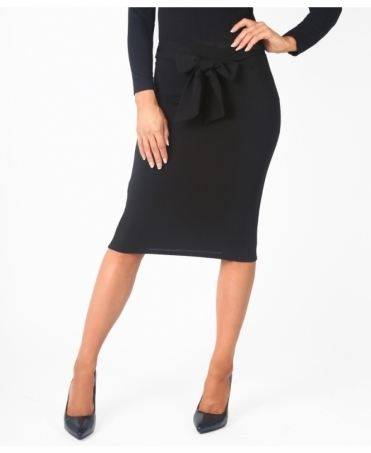 Bow Front Pencil Midi Skirt