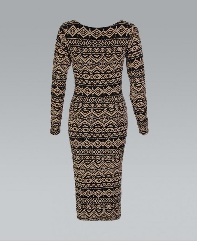 bfb122ff9e8b KRISP Brown Aztec Print Long Sleeve Midi Bodycon Dress