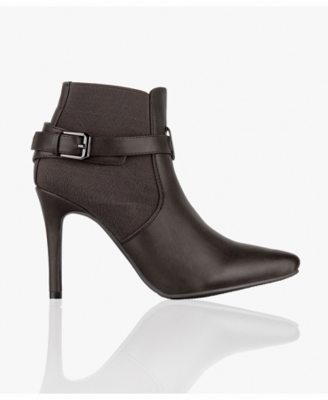 Buckle Strap Heeled Ankle Booties