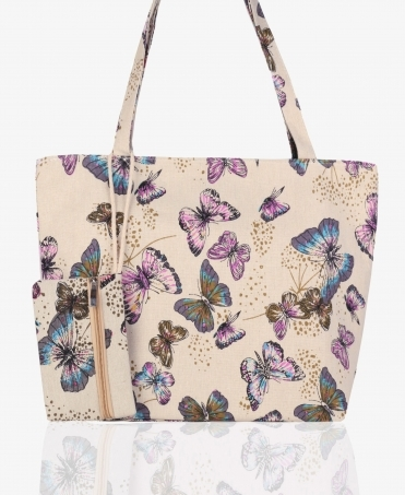 Butterfly Shopper Bag with Purse