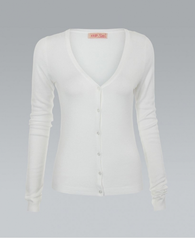 KRISP Button Down Fine Knit White Cardigan - WOMENS from Krisp ...