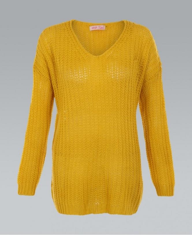 16805e6b879adc KRISP Cable Knit Oversized Mustard Boyfriend Jumper - Womens from ...