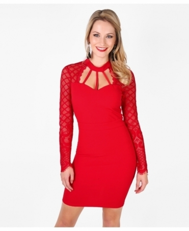 Cage Neck Mesh-Panel Bodycon Dress