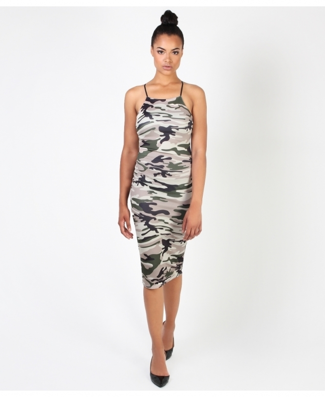 KRISP Camo Print Bodycon Dress