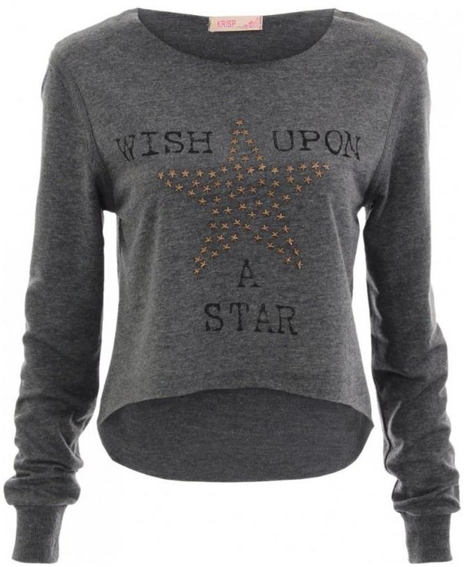 9bfe61738f5218 KRISP Charcoal Crop Top Star Stud Asymmetric Knit Jumper - Womens ...