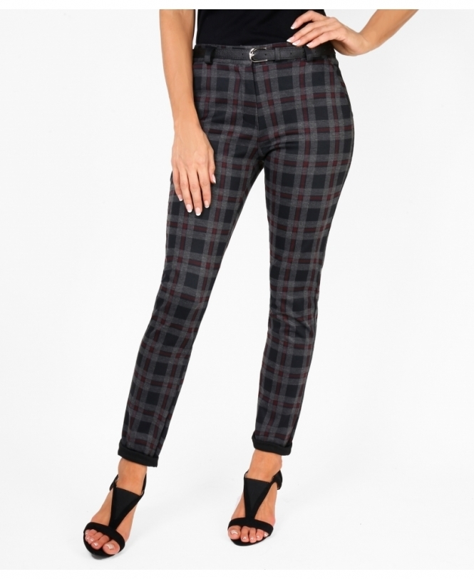 KRISP Check Print Ponte Pencil Trousers
