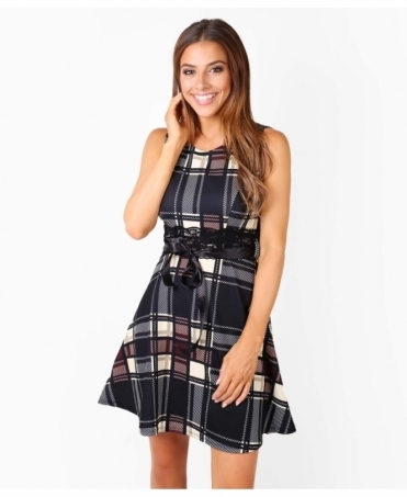 Check Print Sleeveless Skater Dress