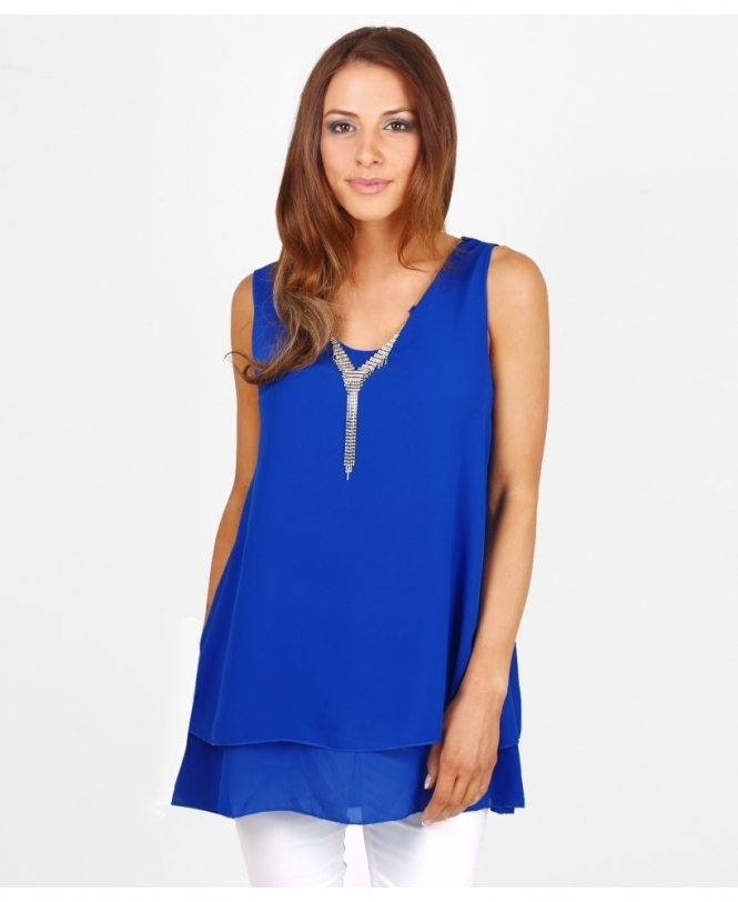 KRISP Chiffon Swing Tunic Top with Necklace