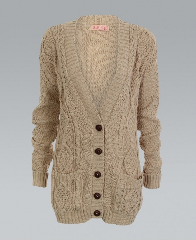 KRISP Chunky Cable Knit Button Down Stone Cardigan - Womens from ... be6b00306
