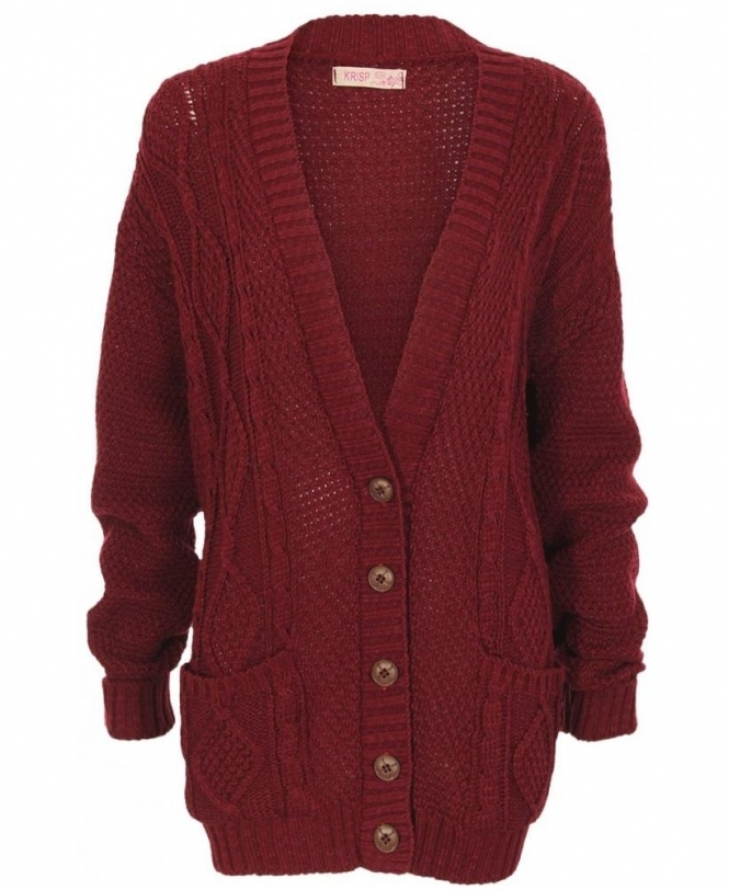 KRISP Chunky Cable Knit Button Down Wine Cardigan - Womens from ... 4c9b28c47