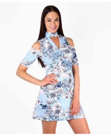 Cold Shoulder Floral Choker Dress