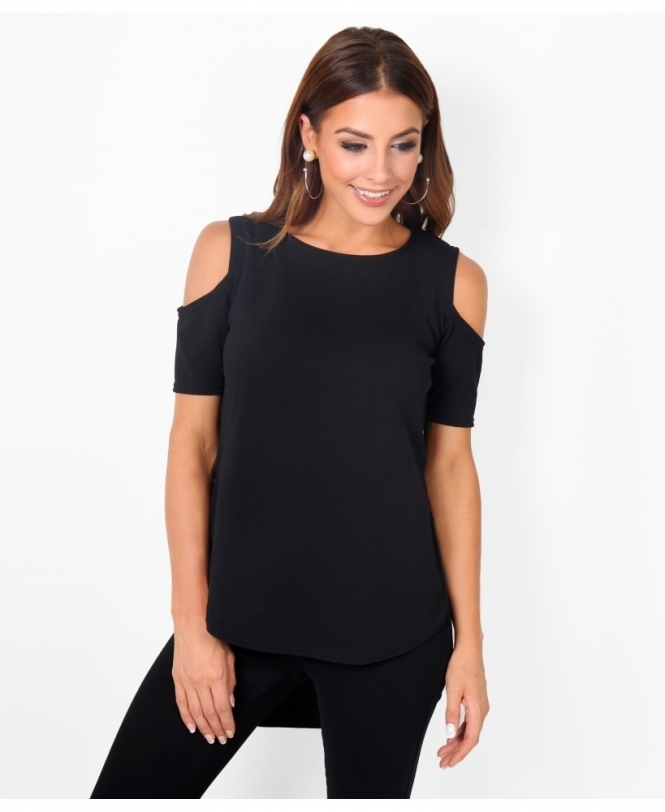 KRISP Cold Shoulder Plain Dip Hem Top