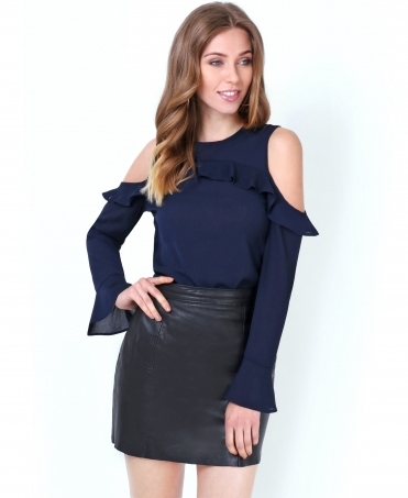 Cold Shoulder Ruffled Chiffon Blouse