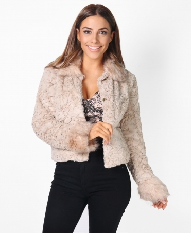 Collared Faux Fur Shrug Jacket