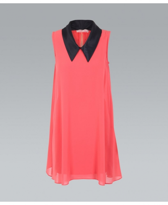 e9297eea0b5afe Coral Jersey Dress in 60's Style from Krisp