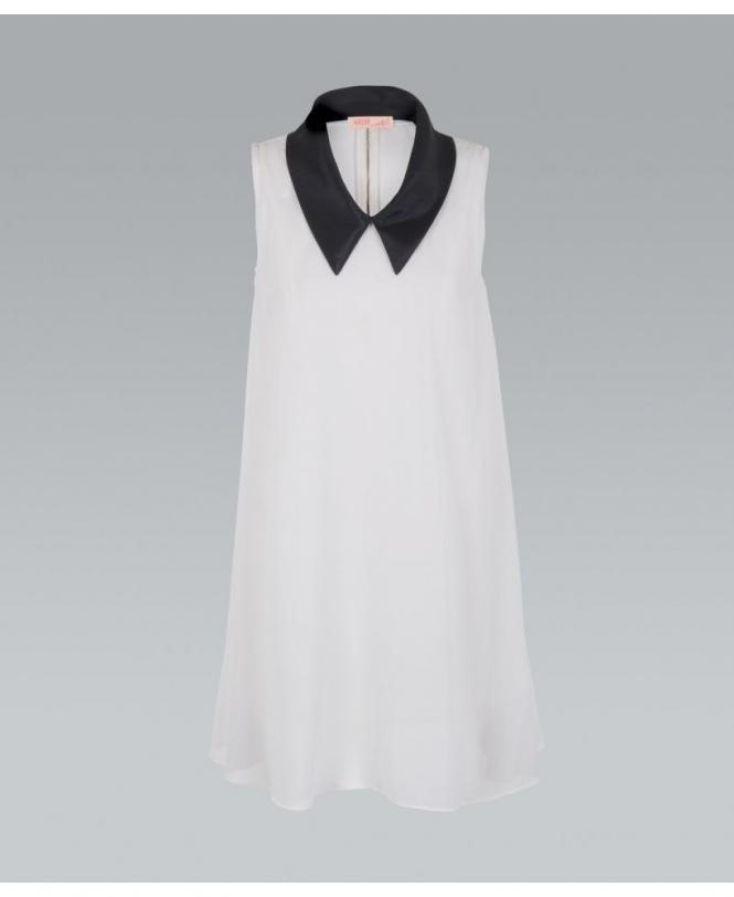 777d0352293874 KRISP Contrast Collar Zip Back Jersey Dress - Womens from Krisp ...