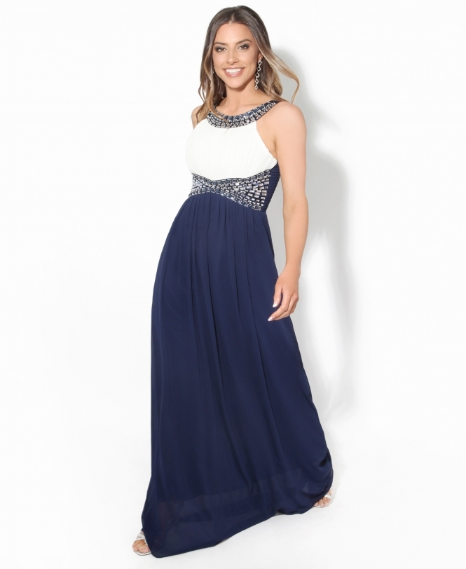 KRISP Contrast Diamante Evening Maxi Dress