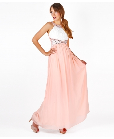 Contrast Diamante Prom Maxi Dress