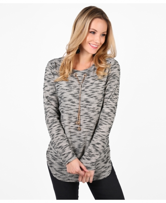 KRISP Contrast Knit Jumper with Necklace